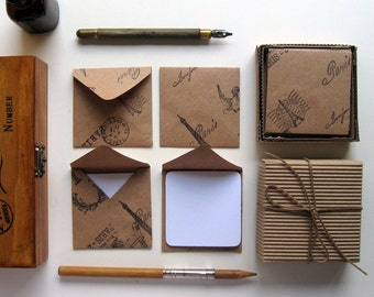 Paris, Kraft Paper, Stationery Set, Blank Note Cards, Cute Stationery, Paris Envelopes, Small Stationery, Gifts Under 10, Kraft Envelopes