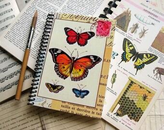 Butterflies A6 Spiral Notebook, Spiral Bound Writing Journal, Sketchbook, Back to School, Natural History Blank Pocket Paper Garden Notebook