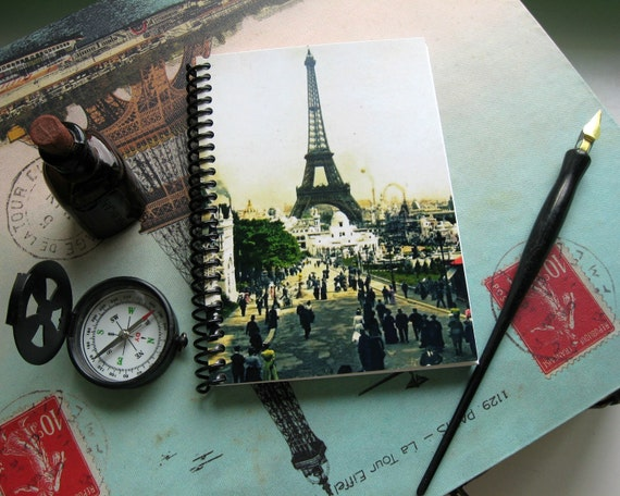 Eiffel Tower Paris Travel Writing Journal, Spiral Bound Diary, Blank Sketchbook, Universal Exposition, Pocket Cute Notebook, Gifts Under 15