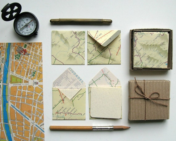 Mini Stationery Set: 12 Map Envelopes with 12 Cards