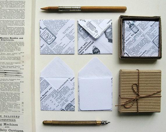 Mini Stationery Set: 12 White Cards with 12 1895 Catalog Envelopes