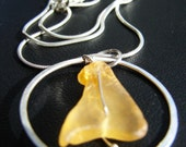 SALE-  Amber Sea Circle sea glass and sterling silver necklace