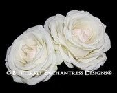2 Pale Ivory Champagne Blush Eternity Rose Bridal Hair Flower Clips