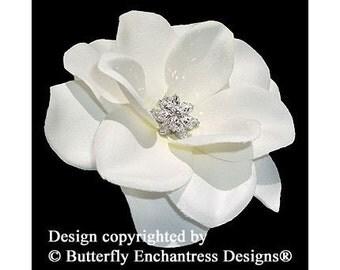 Starfire Rhinestone Ivory Gardenia Flower Bridal Hair Clip