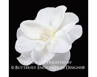 Pearl Crystal Ivory Gardenia Bridal Hair Flower Clip