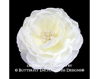 Pearl Crystal Blooming Ivory Moroccan Rose Bridal Hair Flower Clip