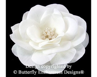Ivory Gwyneth Gardenia Bridal Hair Flower Clip - Pearl Crystal Center - Butterfly Enchantress