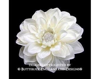 Bridal Hair Flower, Wedding Hair Accessory, Flower Hair Clip - Ivory Mirielle Dahlia Flower Clip - Vintage-inspired Rhinestone