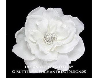 Bridal Hair Flower Clip, Bridal Hair Accessories - White Sandrinne Gardenia Flower Hair Clip - Rhinestone