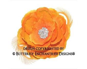 Bright Hair Flower, Bridal Flower Hair Clip, Wedding Hair Accessory, Fascinator - Summer Orange English Rose Flower Feather Hair Clip