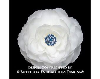 Diamond White English Rose Bridal Hair Flower Clip with Something Blue Rhinestone Center