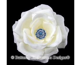 Bridal Hair Accessories, Rustic Nautical Beach Wedding Hair Flowers, Bridesmaid Gift - Something Blue Ivory Rose Flower Hair Clip
