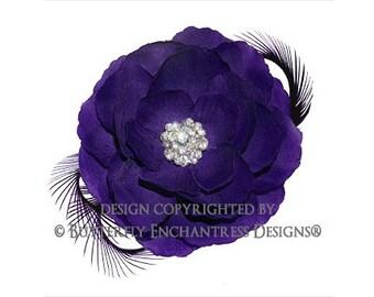 Rhinestone Purple English Rose Flower & Feather Hair Clip