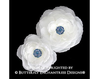 Bridal Hair Flowers, Bridal Hair Accessories, Wedding Flower Clips - 2 Something Blue Diamond White English Rose Flower Hair Clips