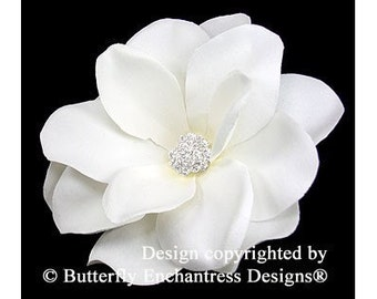 Bridal Hair Accessories, Wedding Hair Accessory, Bridal Hair Flower Clip - Pale Ivory Gardenia Flower Hair Clip - Clear Rhinestone