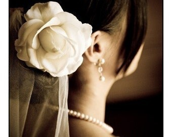Ivory Rose Bridal Hair Flower Clip Wedding