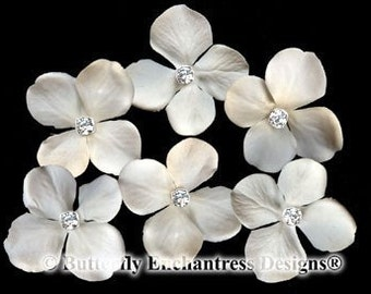 Ivory Hair Flowers, Bridal Hair Accessories, Wedding Hair Pins - 6 Rhinestone Ivory Hydrangea Bridal Hair Pins