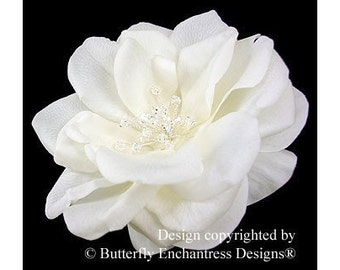 Crystal Fireworks Ivory Natalia Rose Bridal Hair Flower Clip