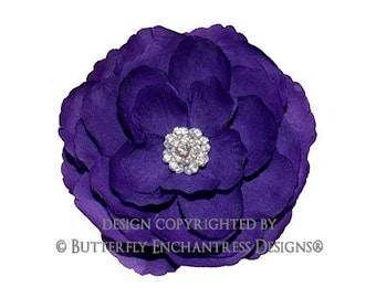 Purple Hair Flower, Wedding Hair Accessory, Bridal Hair Clip - Rhinestone Purple English Rose Flower Clip