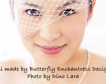 SALE Bridal Blusher Birdcage Veil in White or Ivory