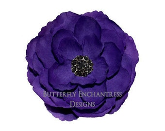 Purple Coronado Anemone Bridal Hair Flower Clip with Black Rhinestone Center