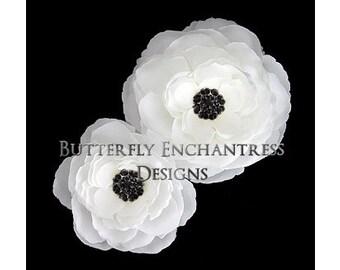 2 Diamond White Coronado Anemone Bridal Hair Flower Clips with Black Rhinestone Centers