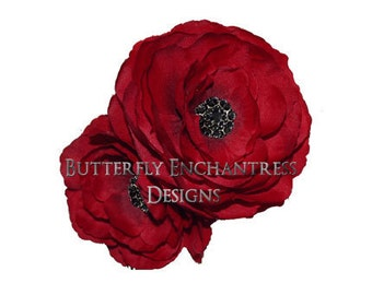 2 Spanish Red Coronado Anemone Bridal Hair Flower Clips with Black Rhinestone Centers