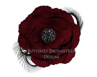 Crimson Red / Black Coronado Anemone Flower & Feather Hair Clip