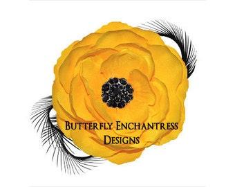 Yellow / Black Coronado Anemone Flower & Feather Hair Clip