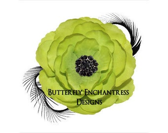 Green / Black Coronado Anemone Flower & Feather Hair Clip