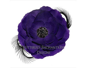 Purple / Black Coronado Anemone Hair Flower & Feather Clip