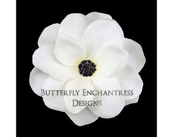Pale Ivory / Black Gardenia Bridal Hair Flower Clip