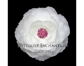 Bridal Flower Hair Clip, Wedding Hair Accessory, Bridal Headpiece - White English Rose Hair Flower Clip - Fuchsia Pink Rhinestone