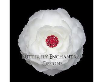 Diamond White English Rose Bridal Hair Flower Clip with Red Rhinestone Center