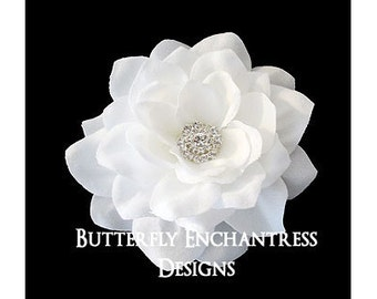Wedding Hair Accessories, Bridal Hair Flower, White Flower Bridal Hair Clip - Tahitian Gardenia - Rhinestone