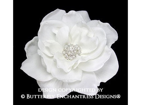 Bridal Hair Flower Clip, Bridal Hair Accessories - White Sandrinne Gardenia Flower Hair Clip - Rhinestone