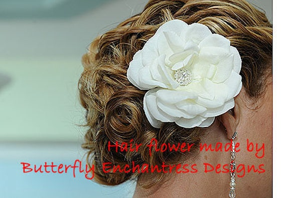 Crystal Ivory Natalia Rose Flower Bridal Hair Clip