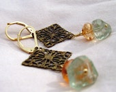 Shades of Fall by BrokenTeepeeDesigns.etsy.com - Earrings with Chocolate Brass Filigree, Golden Apricot Mystic Topaz, and Prasiolite on Gold Fill Leverbacks