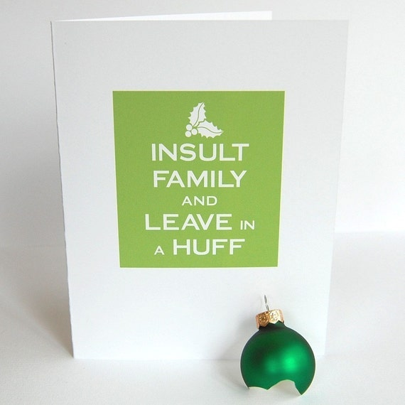 Funny, clever, witty, snarky, joke Christmas holiday greeting card set -- Keep Calm and Carry On parody