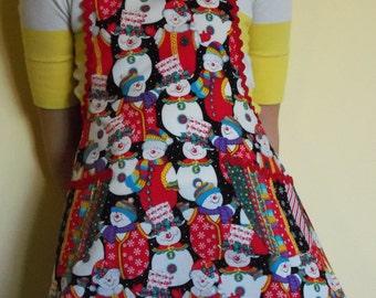 Childrens apron, Christmas, snowmen,
