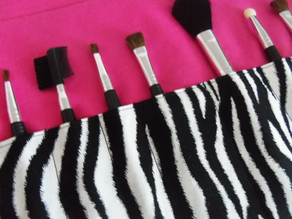 Makeup brush roll, crochet hook organiser, pencil case, zebra