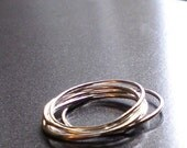 Simply Skinny Stacked Organic Rustic Sterling Silver Rings - Set of 6