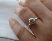 "Simply Romantic Sterling Silver ""Diamond"" Alternative Engagement Ring"