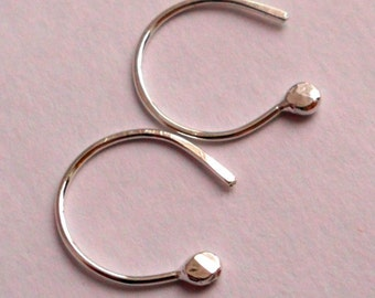 Simply Irresistible Tiny Sterling Silver Bud Open Hoop Earrings