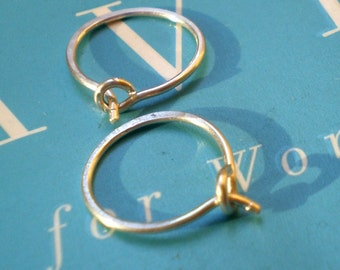Simple Rustic Organic Reclaimed Sterling Silver Whisper Thin Everyday Hoops - Itsy Bitsy Size