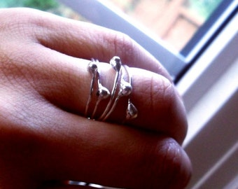 Simply Flowing Drop Sterling Silver Skinny Stacking Rings - Set of 5