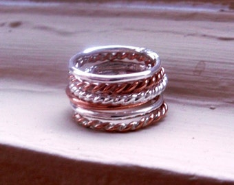 Simply Stacked and Twisted Thick Sterling Silver and Copper Rings - Set of 6