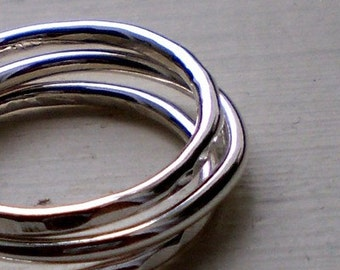 Simply Stacked Thick Sterling Silver Rings - Set of 3