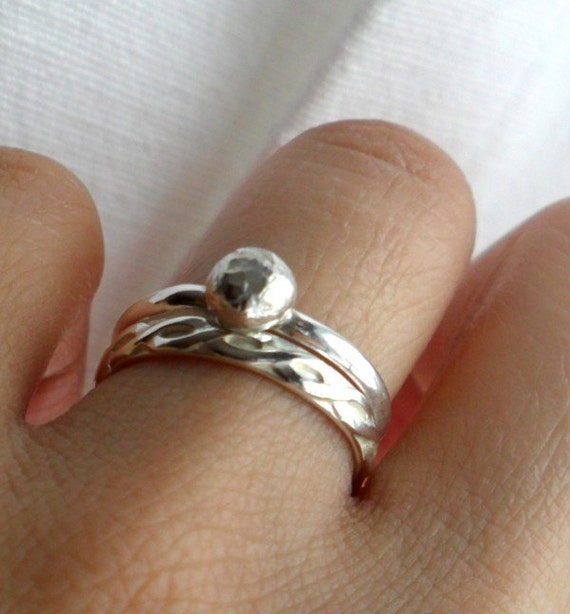 "Simply Romantic Sterling Silver Infinity ""Diamond"" Alternative Wedding Band Set"