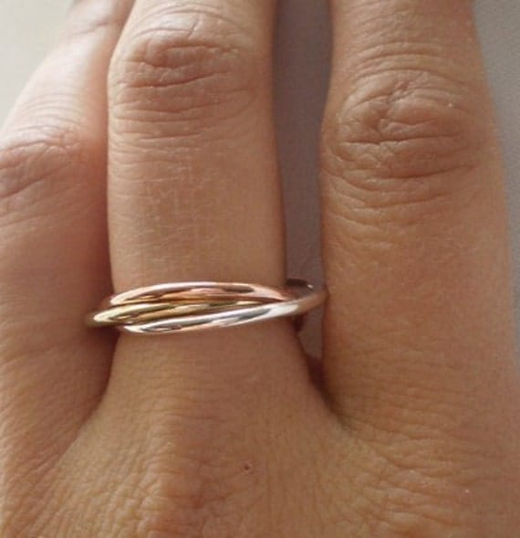 Simple Rustic Trinity Sterling Copper and Red Brass Intertwined Rings